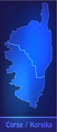 Map of corsica with borders as scrible