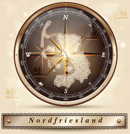 Map of Nordfriesland with borders in bronze