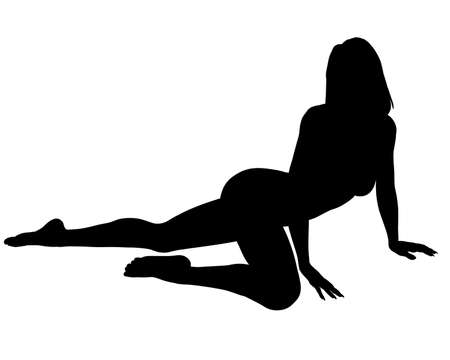 Photo for A silhouette of a sexy woman posing, isolated on a solid white background.  - Royalty Free Image