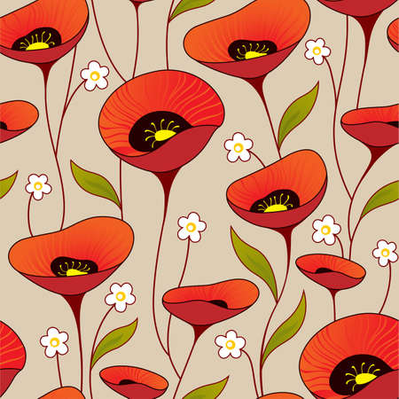 Illustration for Vintage seamless background with poppy - Royalty Free Image