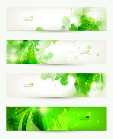 set of four  banners, abstract  headers with green blots