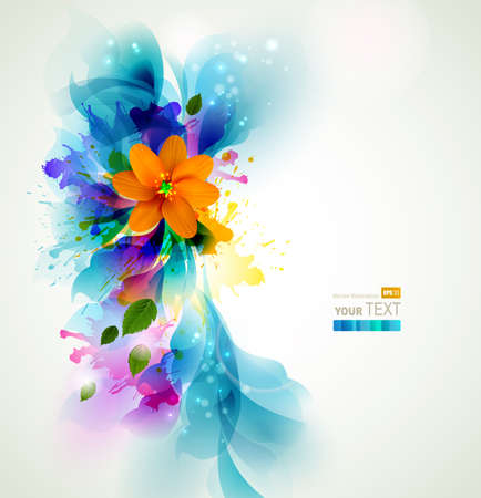 Tender background with orange abstract flower on the artistic blobs