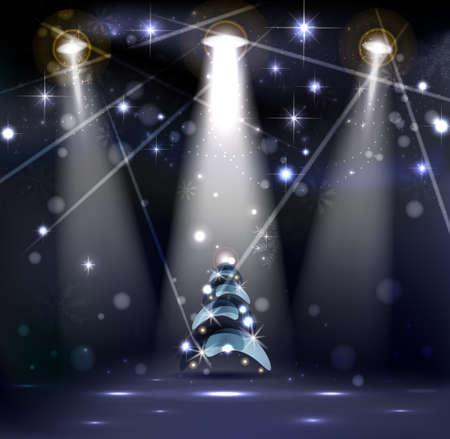 dark Christmas Stage Spotlight with snowflakes and good-looking Christmas tree