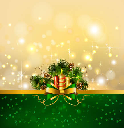 Christmas background with burning candles and Christmas fir tree