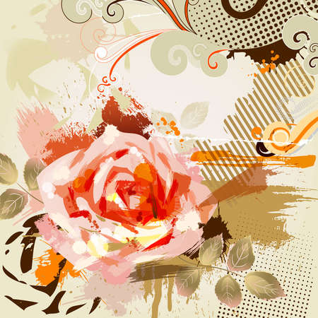 decorative composition with big grunge rose