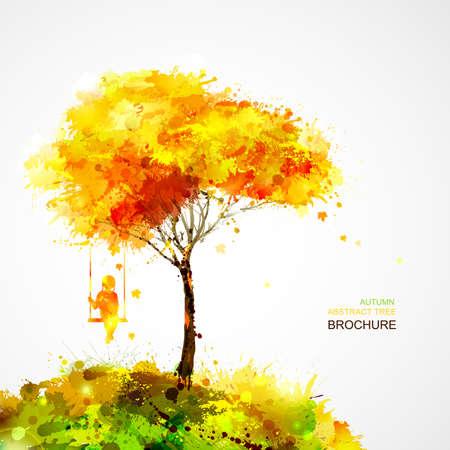 autumn tree. Dreaming girl on swing