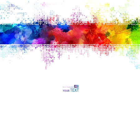 Bright watercolor strip. Rainbow stains