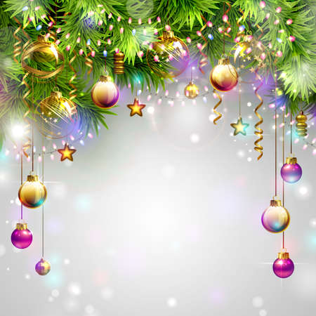 Illustration pour Christmas backgrounds with evening balls, garlands and fir-trees branches - image libre de droit