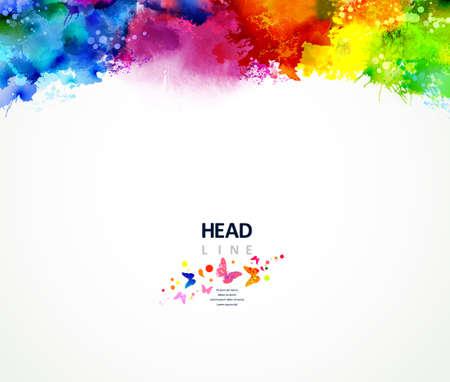 Ilustración de Bright watercolor stains. Multicolor border. - Imagen libre de derechos