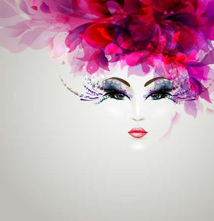 Illustration pour Beautiful abstract women with bright design elements - image libre de droit