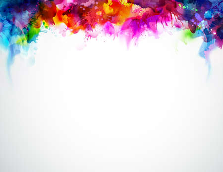 Illustration for Bright abstract watercolor stains. Multicolor border. Rainbow multicolor background. - Royalty Free Image
