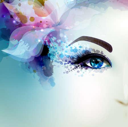 Foto de Beautiful abstract women with abstract  floral element. Part of face. - Imagen libre de derechos