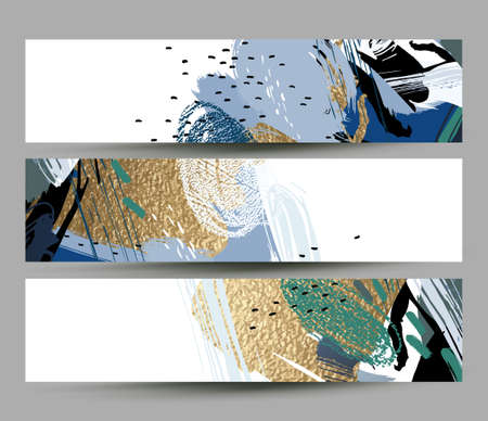 collection of artistic creative three cards with hand drawn shapes and textures elements on the white background. Modern unusual vector freehand abstraction.