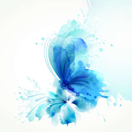 Foto de Beautiful watercolor abstract blue butterfly on the flower on the white background. - Imagen libre de derechos