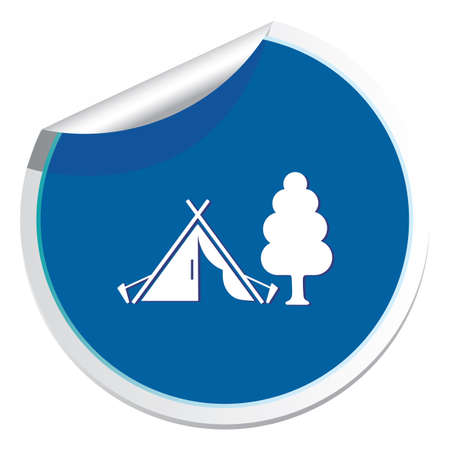 Stylized icon of tourist tent. Vector illustration.