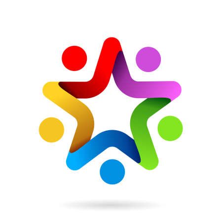 Illustration for star team work symbol, star team work logo - Royalty Free Image