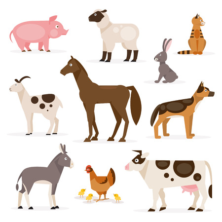A collection of farm animals on the white background