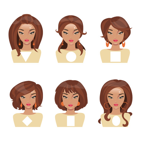 Different face shapes and matching hair and earrings