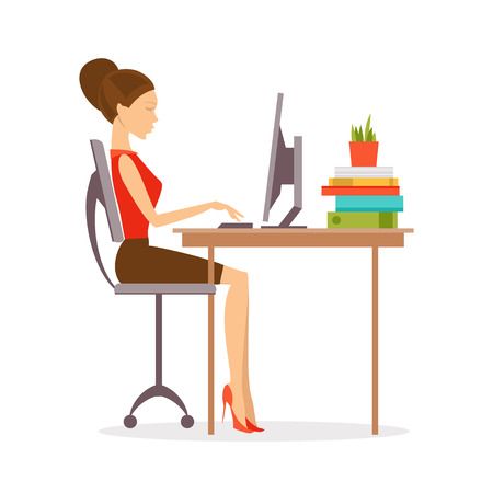 Illustration for Woman sitting at a computer in the correct position - Royalty Free Image