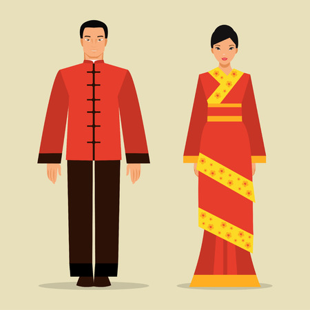 Illustration pour Chinese man and woman in traditional national costume - image libre de droit