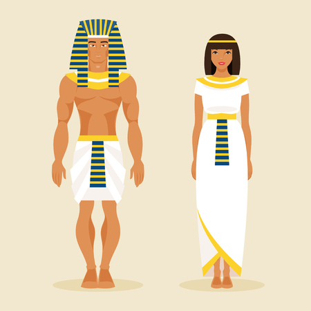 Illustration pour Ancient Egyptian man and woman in traditional costumes - image libre de droit