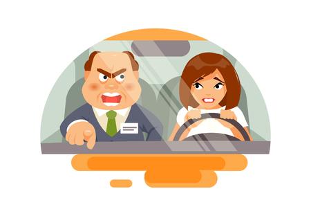 Illustration pour Training in a driving school. - image libre de droit