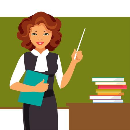 Illustration pour Young teacher with a pointer at the blackboard. Vector illustration - image libre de droit