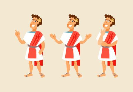 Illustration pour Roman cartoon character with different gestures. Vector illustration - image libre de droit