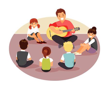 Ilustración de Group of children listen to their music teacher. Vector illustration - Imagen libre de derechos