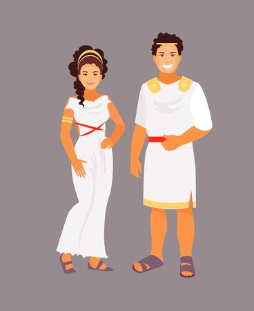 Illustration pour Ancient Greek man and woman in traditional clothes. Vector illustration - image libre de droit