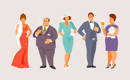 Illustration pour Group of rich people at a social event. Higher Society. Vector illustration - image libre de droit