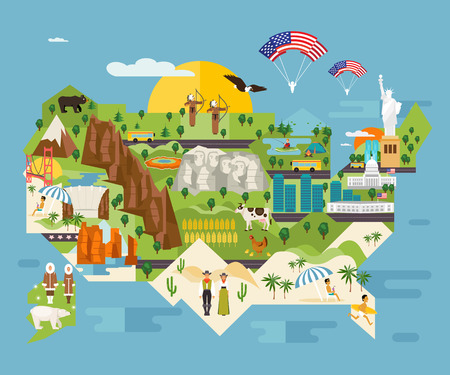 Illustration pour Travel infographics about the United States. National symbols and famous landmarks. Welcome to America. Vector illustrated map - image libre de droit