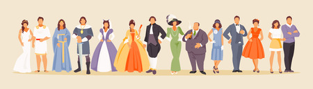 Ilustración de History of man and woman fashion from ancient times to the present. Development of mankind. Vector illustration of a large set of characters - Imagen libre de derechos