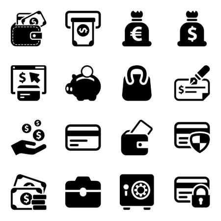black money icons set, for business and finance