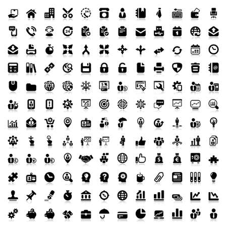 Ilustración de set of flat icons for business and office. black and reflex - Imagen libre de derechos