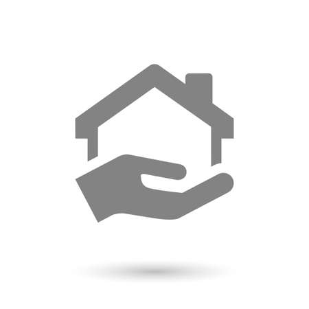 Illustration pour flat house-home and hand icon. isolated with shadow - image libre de droit