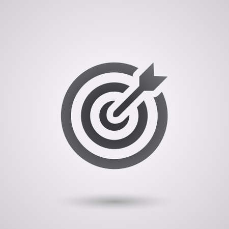 icon flat target with dart in black, isolated, shaded