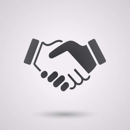 Illustration pour black icon handshake. background for business and finance - image libre de droit