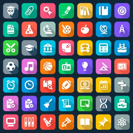 Foto für set of education and school flat icons, colorful - Lizenzfreies Bild