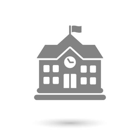 Illustration for flat school icon isolated. gray color with shadow - Royalty Free Image