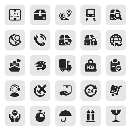 set of icons isolated for logistics in black & square