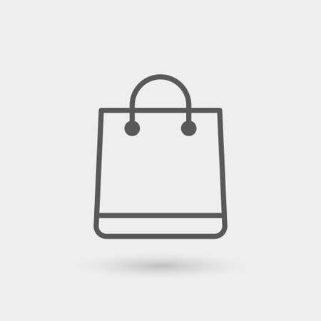 shopping bag icon, thin line, black color with shadow