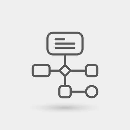 workflow icon isolated, thin line, black color with shadow