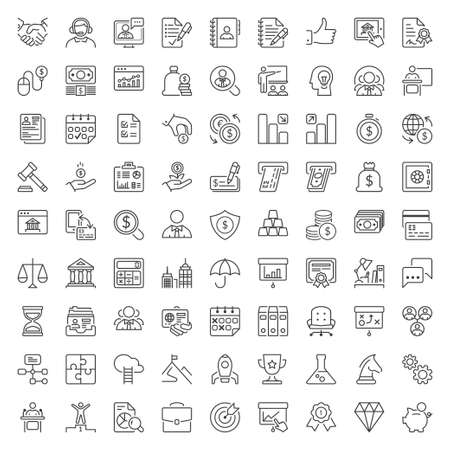 Ilustración de Thin line icons set. Flat symbols about business and finance - Imagen libre de derechos