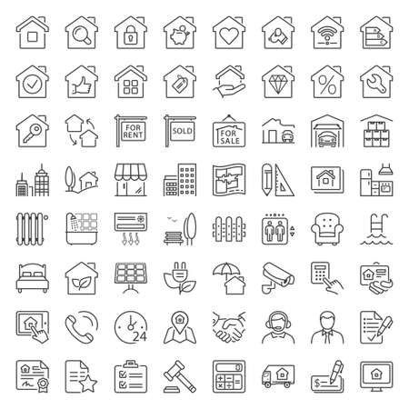 Illustration pour real estate and building icon set, thin line, black color - image libre de droit