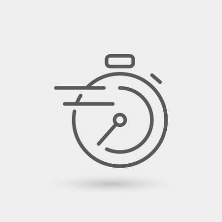 Illustration pour chronometer, fast service thin line icon, black color, isolated - image libre de droit