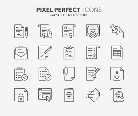 Illustration pour Set of outdoor and ecotourism activities, thin line icons. Contains icons as contract, certificate, attachment, invoice, deed of sale and more. Editable vector stroke. 64x64 Pixel Perfect. - image libre de droit