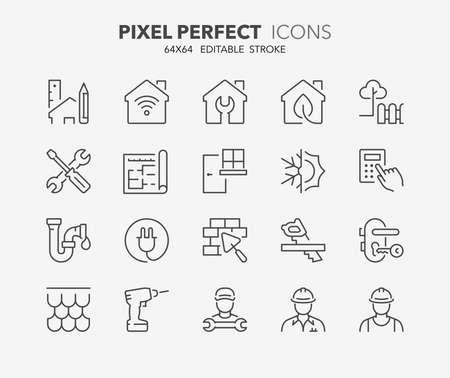 Illustration pour Thin line icons set of renovation, improvement and repair. Outline symbol collection. Editable vector stroke. 64x64 Pixel Perfect. - image libre de droit