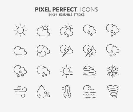 Illustration pour Thin line icons set of weather. Outline symbol collection. Editable vector stroke. 64x64 Pixel Perfect. - image libre de droit