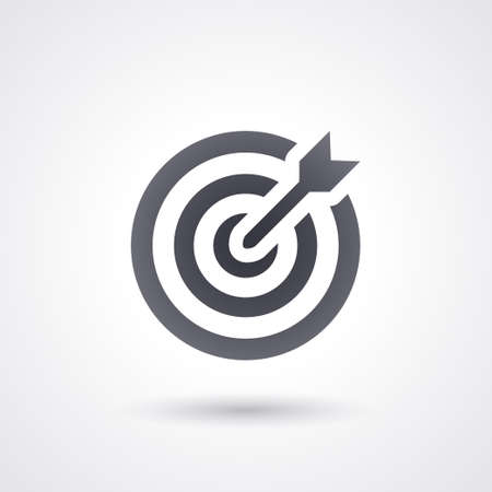 Illustration pour black icon dartboard target with dart , flat and isolated - image libre de droit